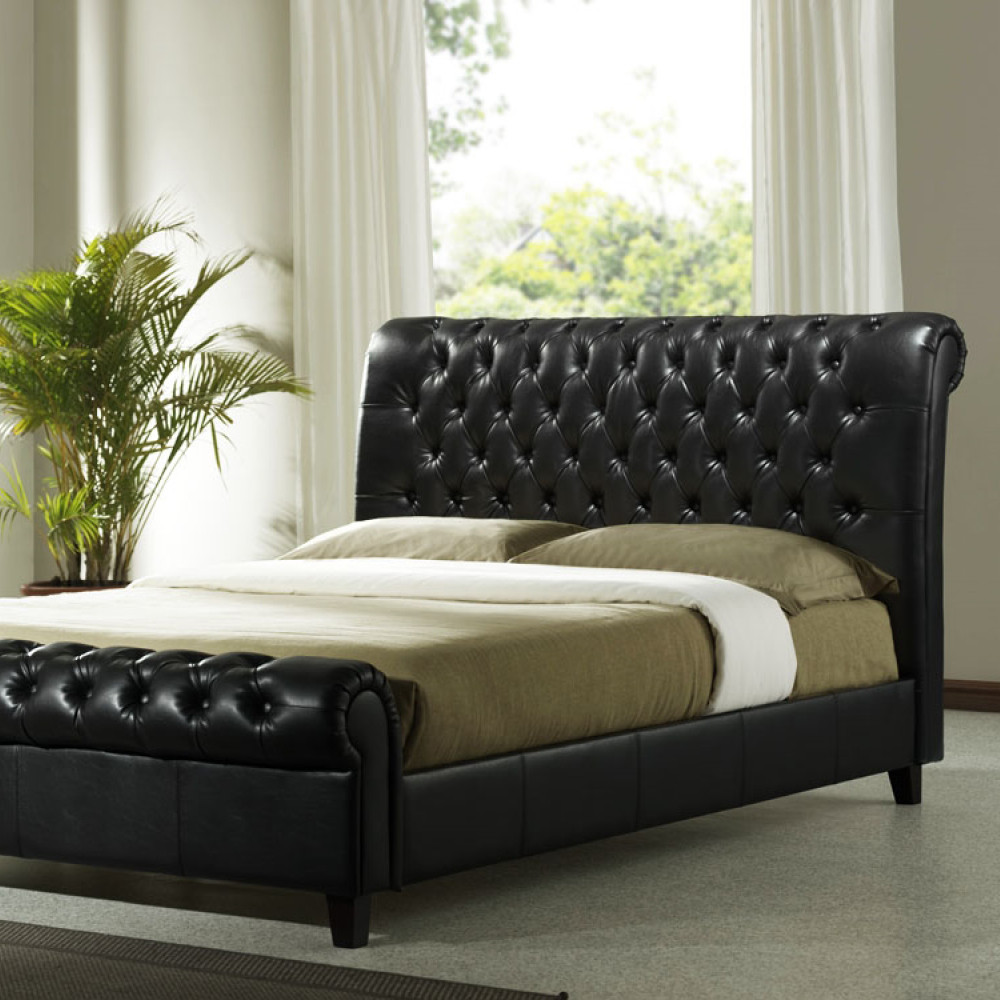 leather beds richmond faux leather bed frame - brown EKLLKXX