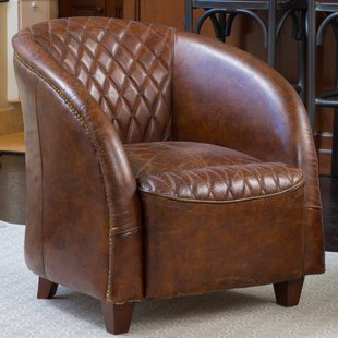 leather chairs wilmette tufted leather barrel chair UJTNQGP