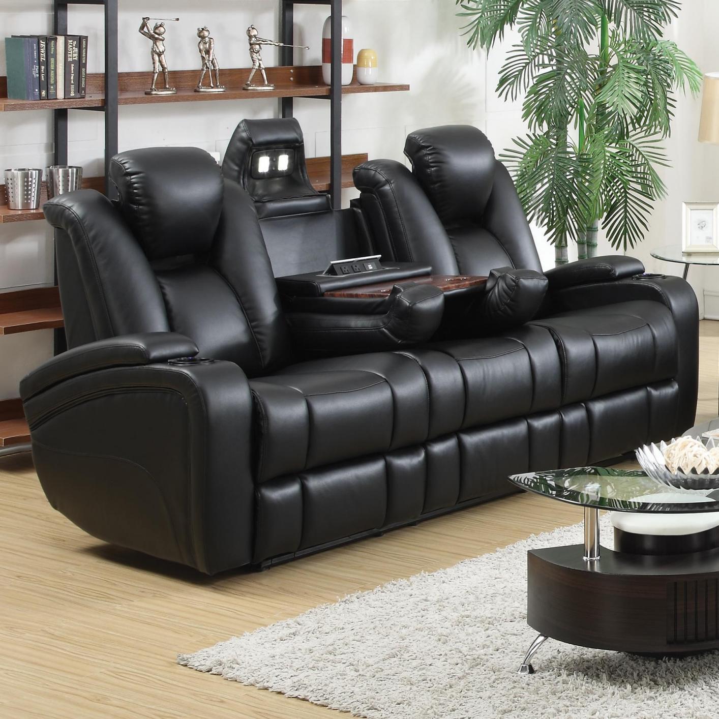 leather recliner sofa black leather power reclining sofa AKEIWXV