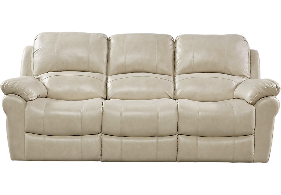 leather recliner sofa vercelli stone leather reclining sofa - reclining sofas (beige) QYPFIWN