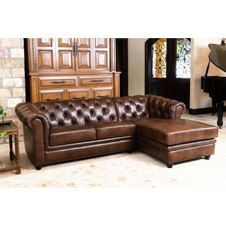 leather sectional sofas abbyson tuscan tufted top grain leather chaise sectional TOCVIZW