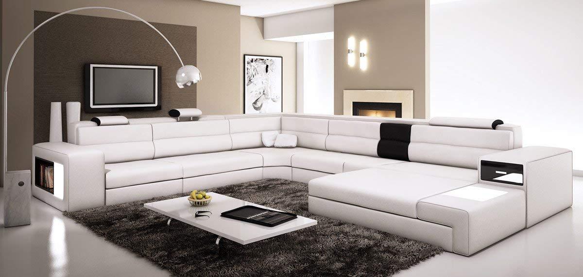 leather sectional sofas amazon.com: polaris - white contemporary leather sectional sofa: kitchen u0026 ZLPNRBK