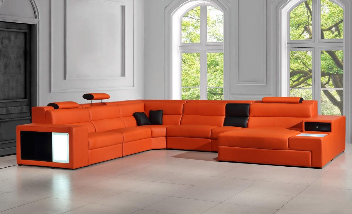 leather sectional sofas divani casa polaris - contemporary bonded leather sectional sofa HUDYDQD