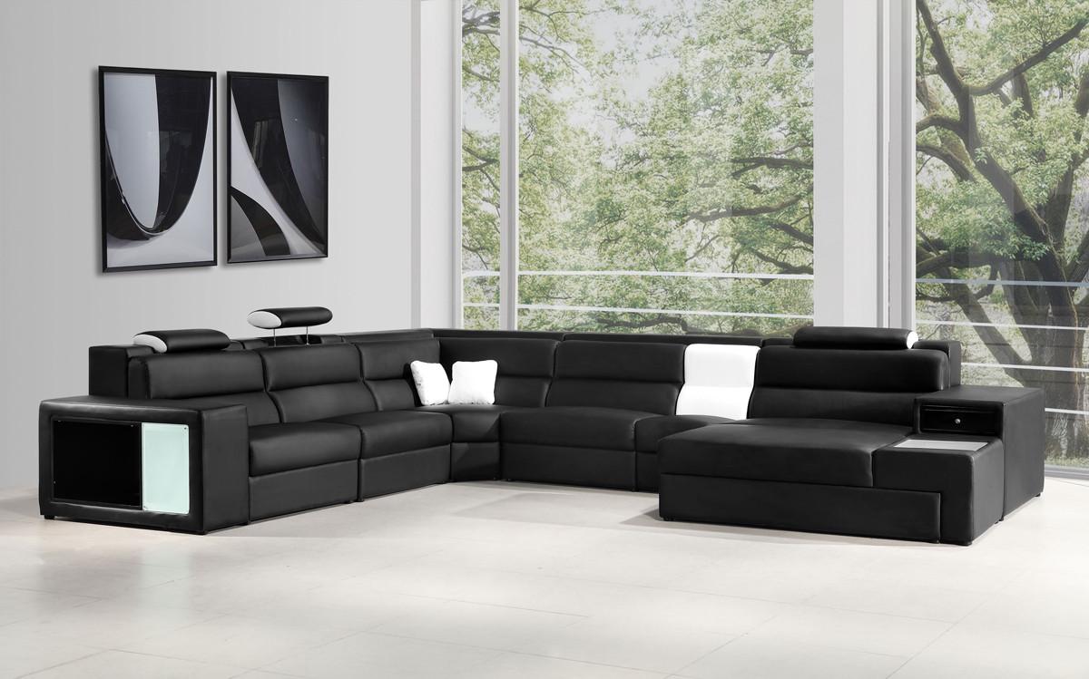 leather sectional sofas polaris italian leather sectional sofa in black EZMHCFX