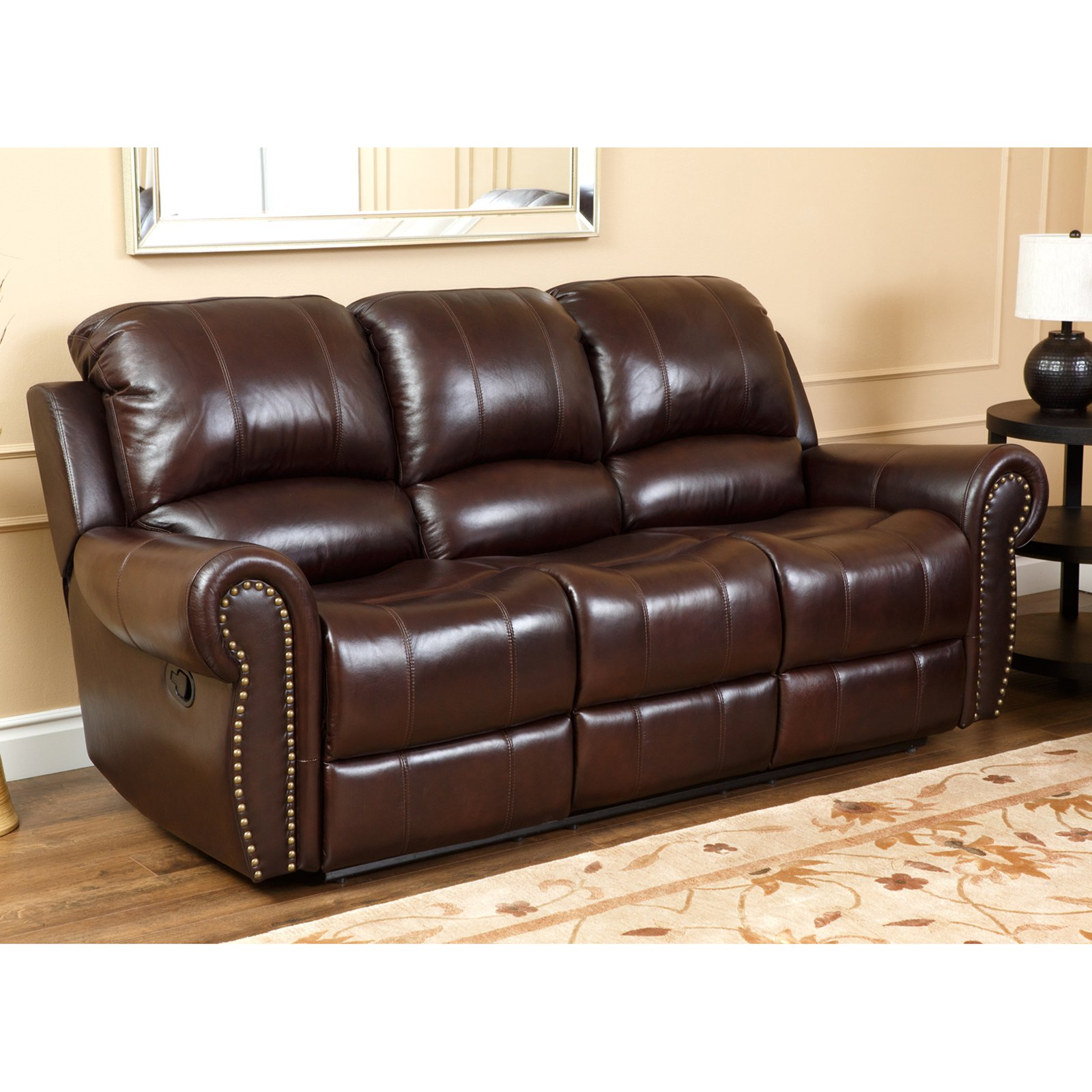 leather sofa set abbyson lexington dark burgundy italian leather reclining loveseat and sofa XWBPEOB