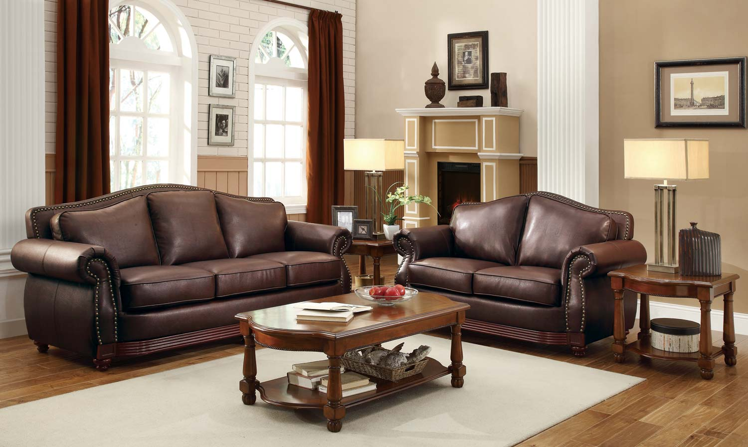 leather sofa set homelegance midwood bonded leather sofa collection - dark brown EKAJNEZ