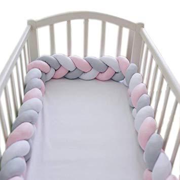 loaol baby crib bumper knotted braided plush nursery cradle decor newborn KHNDEGV