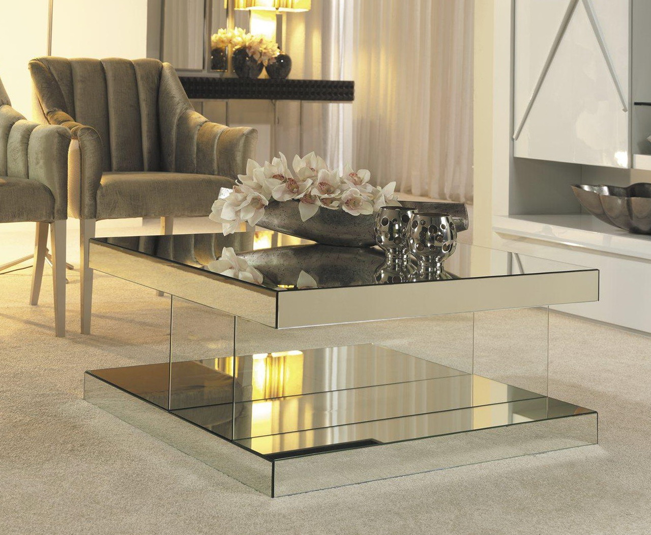 luxury mirrored coffee table JPHSQWJ
