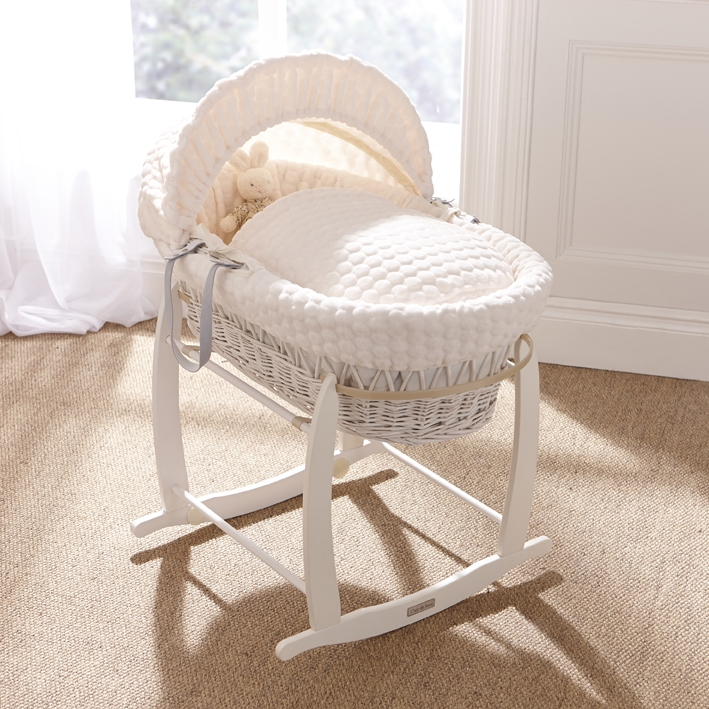 marshmallow white wicker moses basket MODLCCR