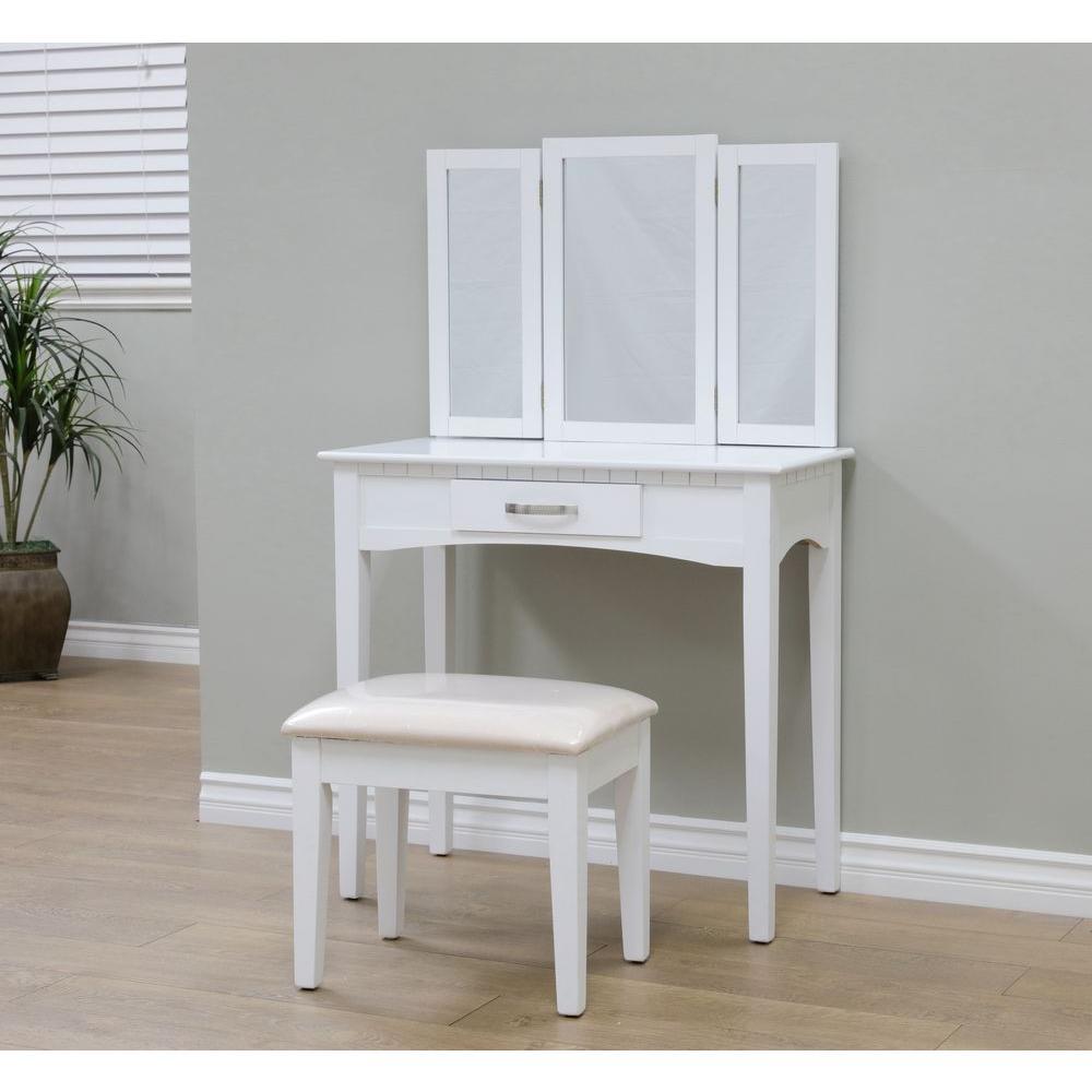 megahome 3-piece white vanity set WDXKHNF