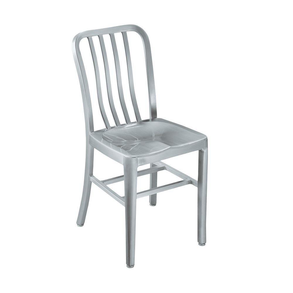 metal chairs amazon.com - sandra side chair, metal seat, brushed aluminm - chairs XIGXSNC