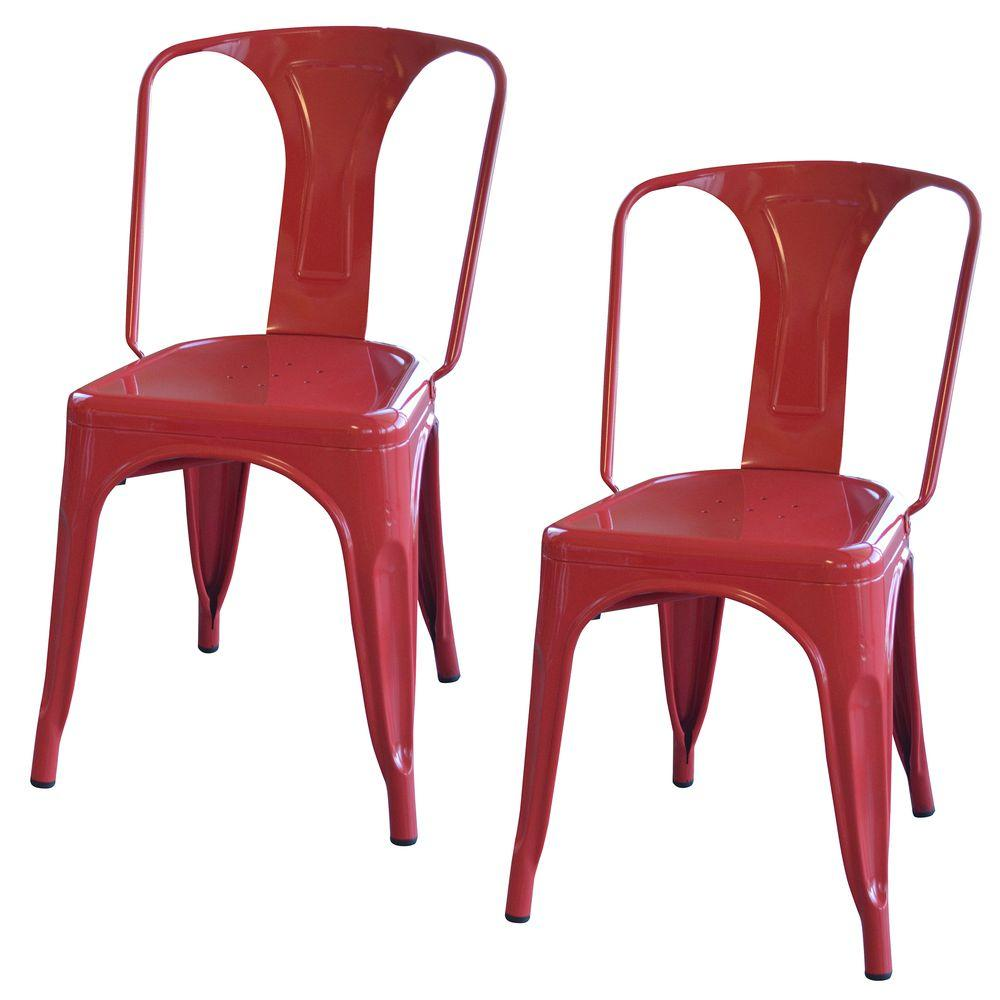metal chairs amerihome red metal dining chair (set of 2) FUGIZMO