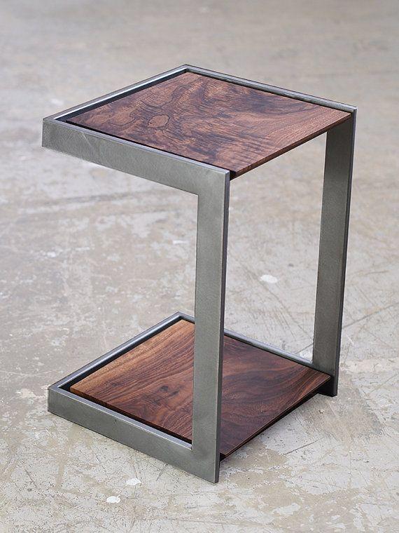 metal furniture suspended wood and metal end table YGJDWQI