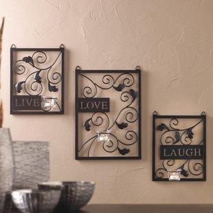 metal wall decor live love laugh 3 piece black wall décor set PAZTAPW