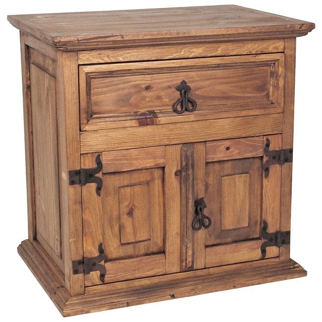 mexican rustic furniture double door nightstand YXVFSUM