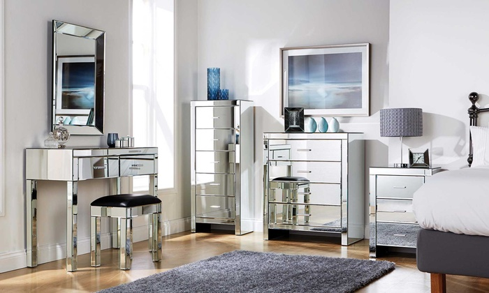 mirrored bedroom furniture also with a mirrored bedside table also with FQAEYXY