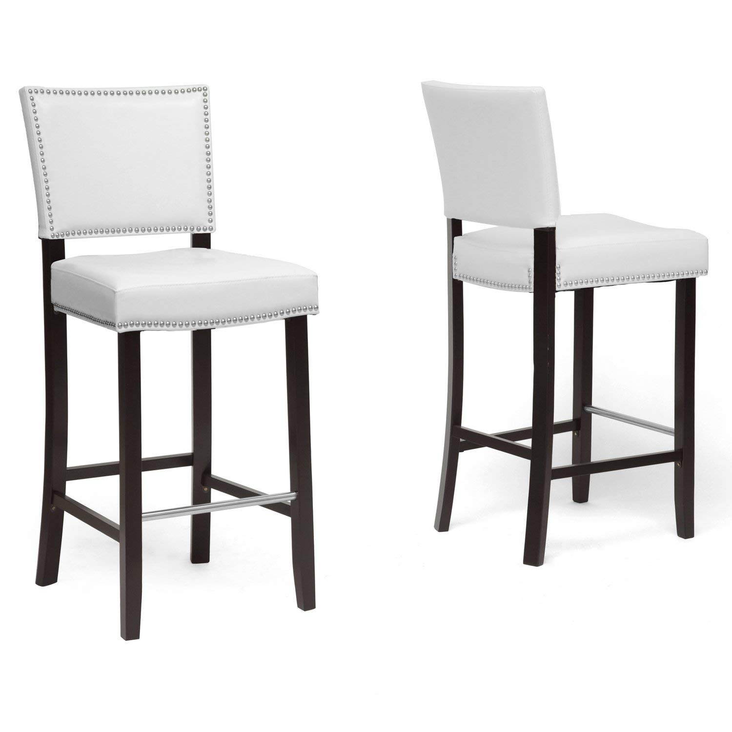 modern bar stools amazon.com: baxton studio aries modern bar stool with nail head trim, FSHGSNB