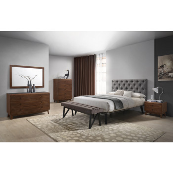 modern bedroom sets modrest gibson modern grey u0026 walnut bedroom set LPETXHL