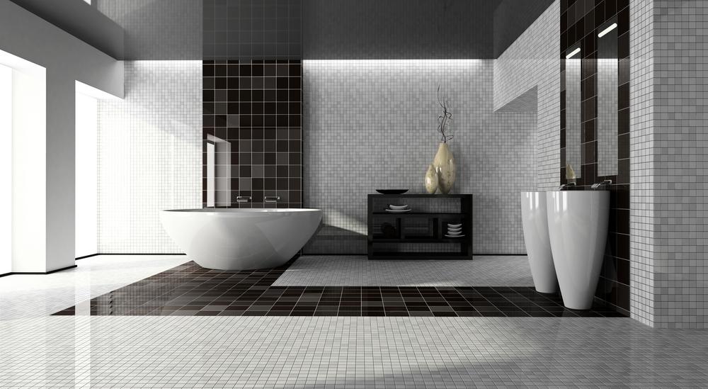 modern ceramic tiles ceramic-tile-modern-bathroom-black-gray-tile PGYMRWE