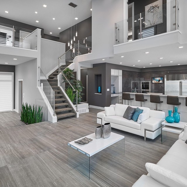 modern decor living room inspiration for a contemporary open concept gray floor living room remodel OZNNJAH