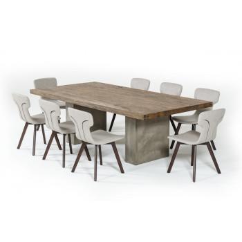 modern dining tables modrest renzo modern oak u0026 concrete 94 PEBBAKB
