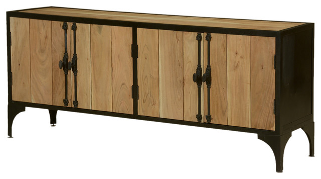 modern industrial wood and iron sideboard cabinet SHFLWOI