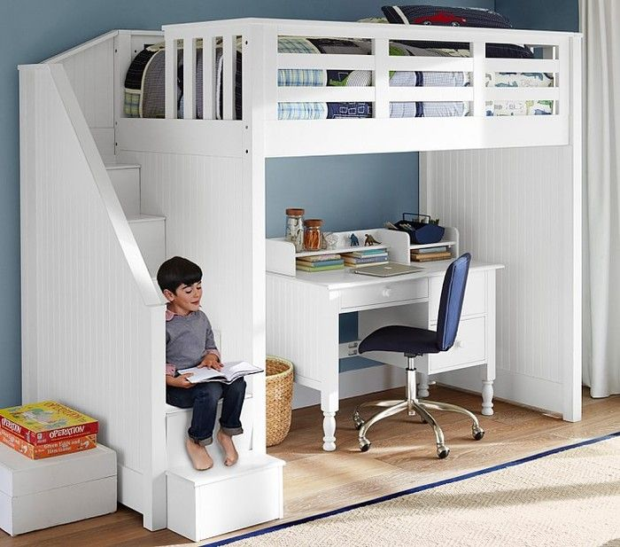 modern kids bunk beds with desk catalina stair loft bed, charcoal CUTWKDS