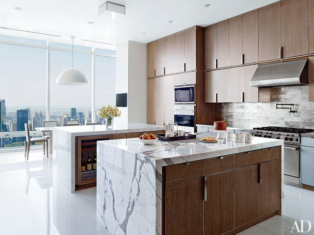 modern kitchens sleek stone and rich wood XFKNIQP