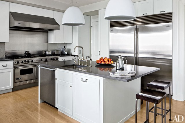 modern kitchens stainless-steel accents UDANMQX