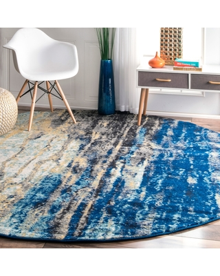 modern round rugs oliver u0026 james mika abstract blue vintage rug - 8u0027 round RNUXMZD