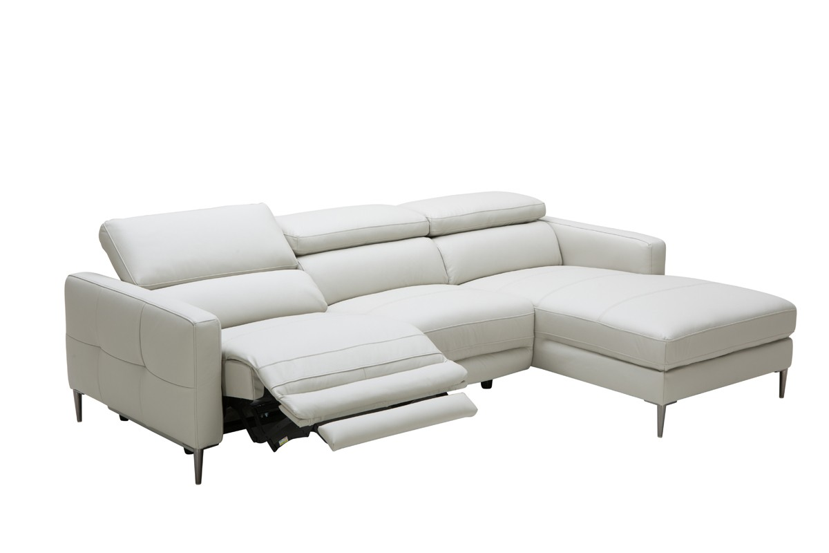 modern sofa recliner divani casa booth modern light grey leather sectional sofa w/ electric IDMDRUA
