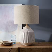 modern table lamps roar + rabbit™ ripple ceramic table lamp - large (white) ... UBRXZZL