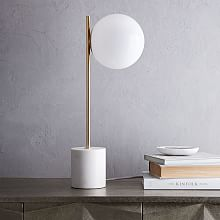 modern table lamps sphere + stem table lamp - brass ... EZMVSZF