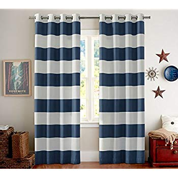 nautical curtains blackout thermal insulated curtains striped for living room noise reducing UZVJHCQ