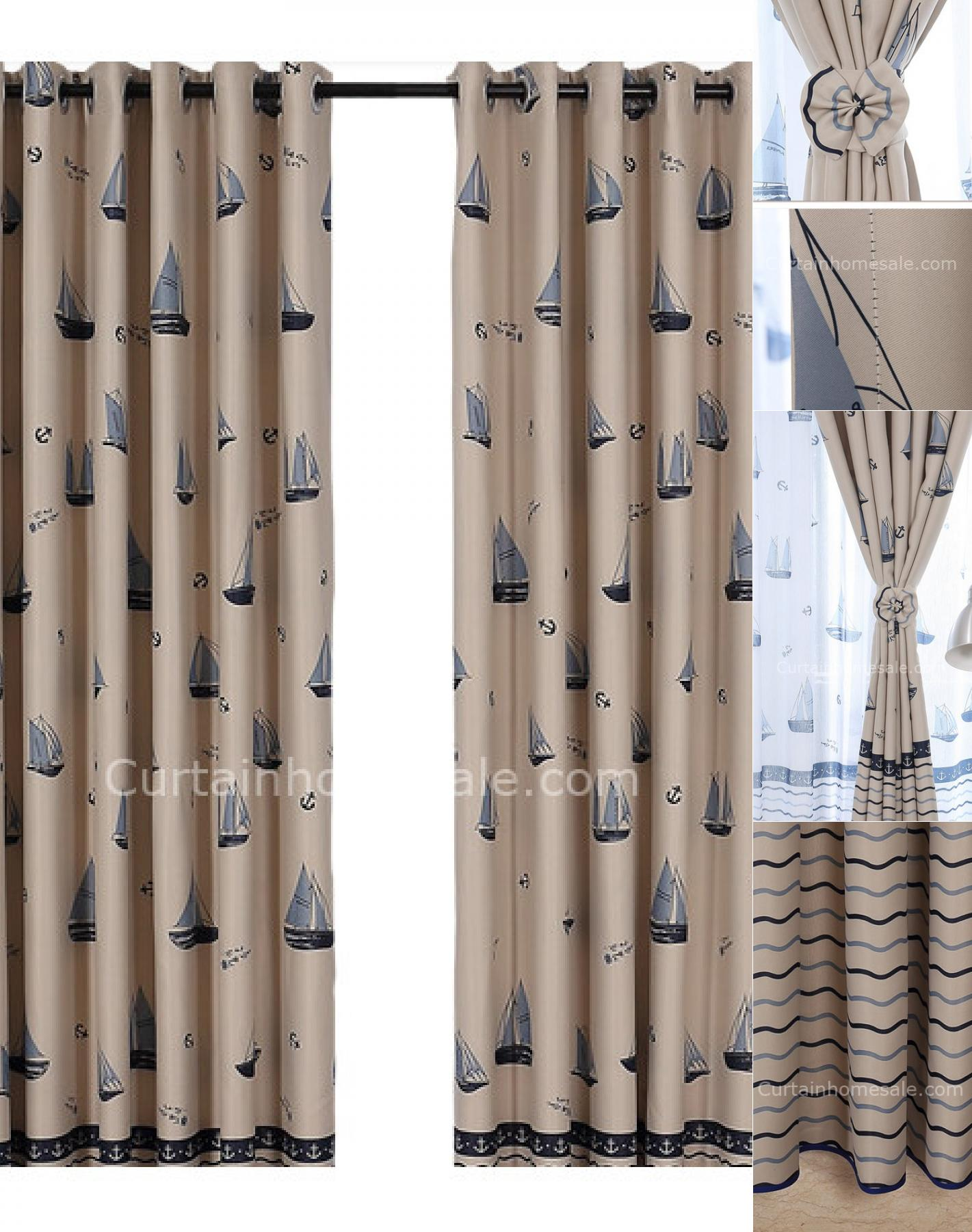 nautical curtains discount blackout nautical print polyester beige style of curtains MQXDFWE