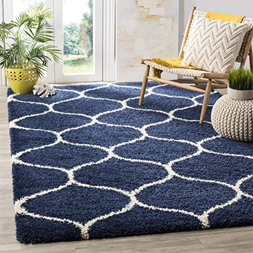navy blue rug safavieh hudson shag collection sgh280c navy and ivory moroccan ogee plush PIJBZOR