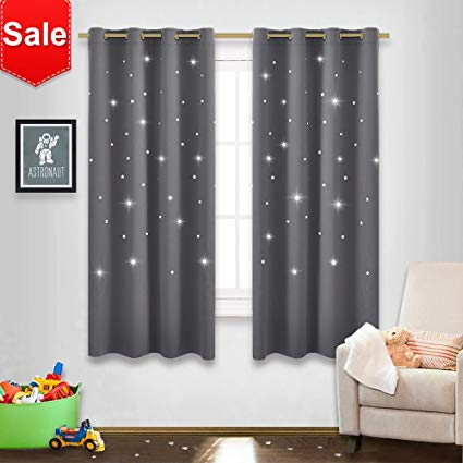 nicetown gray stars kids curtains - naptime essential nursery window NXCPDEM