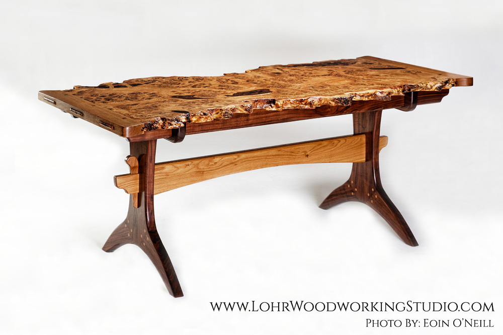 oak table live edge oak burl dining table MGCXHFL