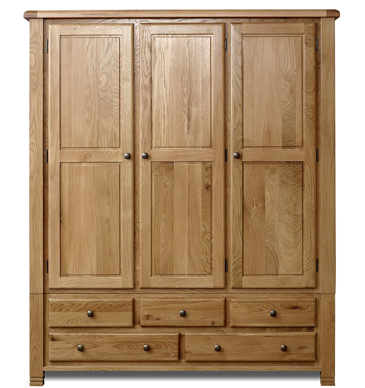 oak wardrobe birlea woodstock 3-door 5-drawer wardrobe - pine, oak: amazon.co.uk:  kitchen LWQJGIJ