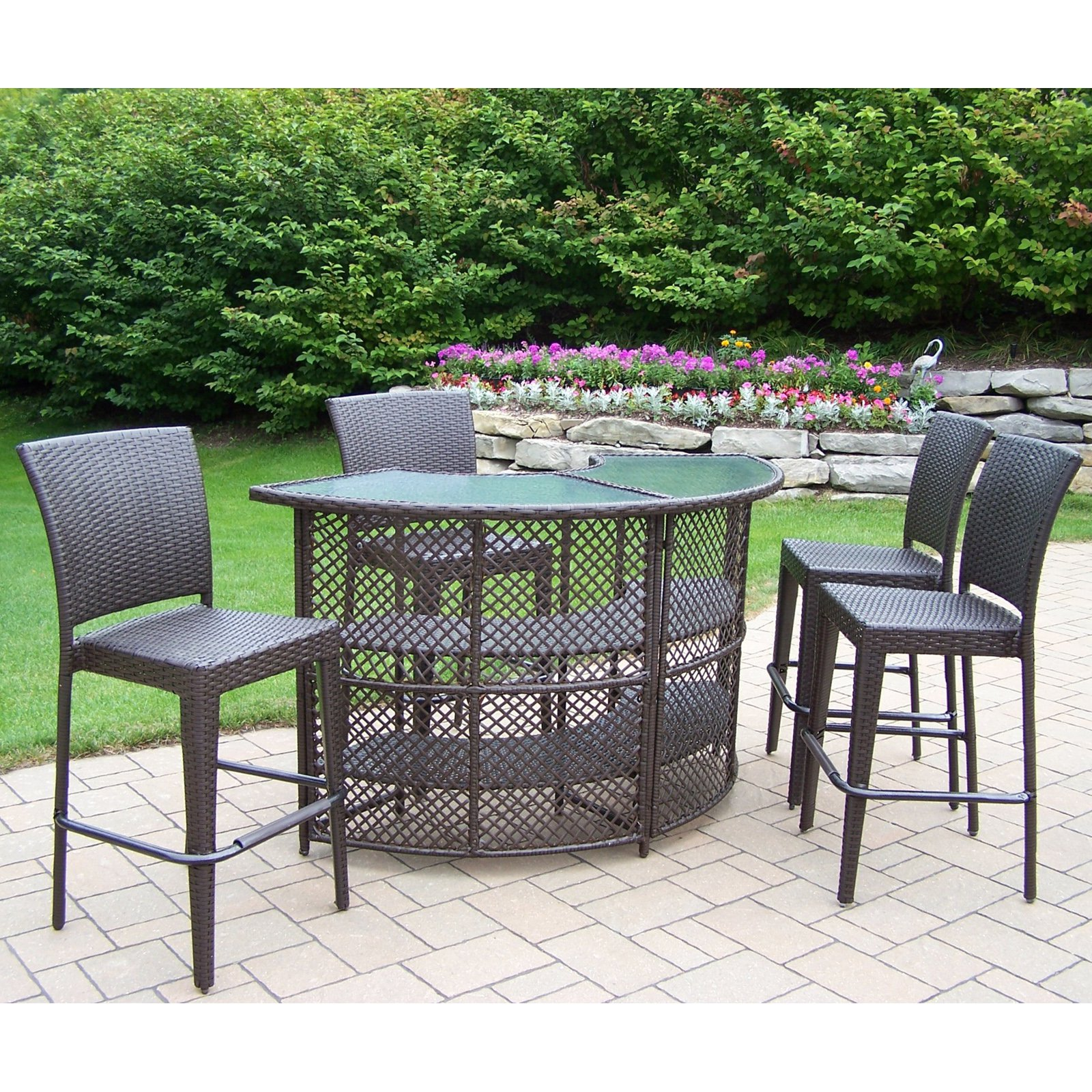 oakland living all weather wicker half round patio bar set - FHFJZDG