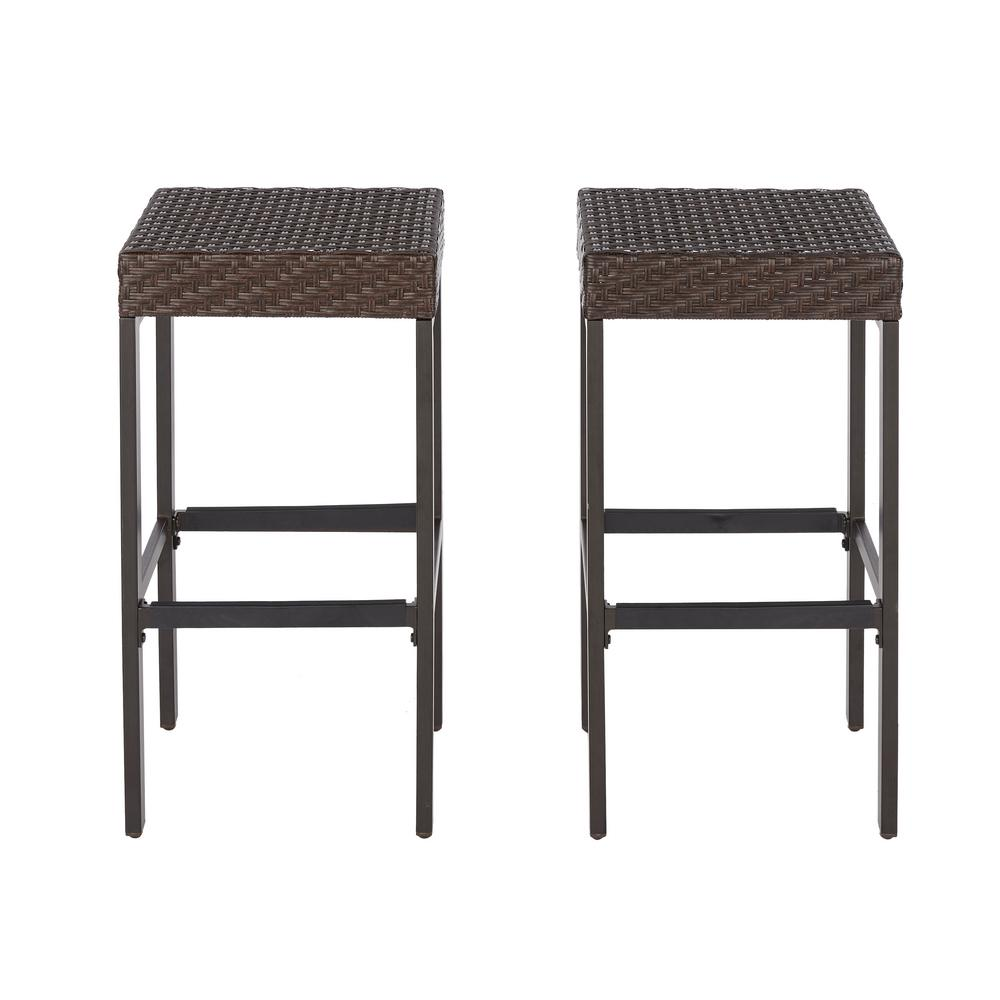 outdoor bar stools hampton bay rehoboth dark brown wicker outdoor bar stool (2-pack) MFLZGOQ