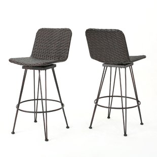 outdoor bar stools prevost outdoor wicker patio bar stool (set of 2) HIPVGMK