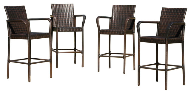outdoor bar stools stewart outdoor wicker bar stools, set of 4, brown YLJQZRI