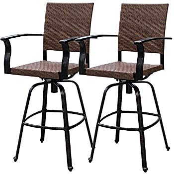 outdoor bar stools sundale outdoor 2 pcs brown wicker bar height swivel bar stool GEHZWCN