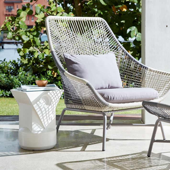 outdoor chair huron outdoor large lounge chair + cushion | west elm NNRKAJZ