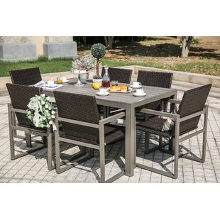 outdoor dining table 7 piece dining set EZQWLED