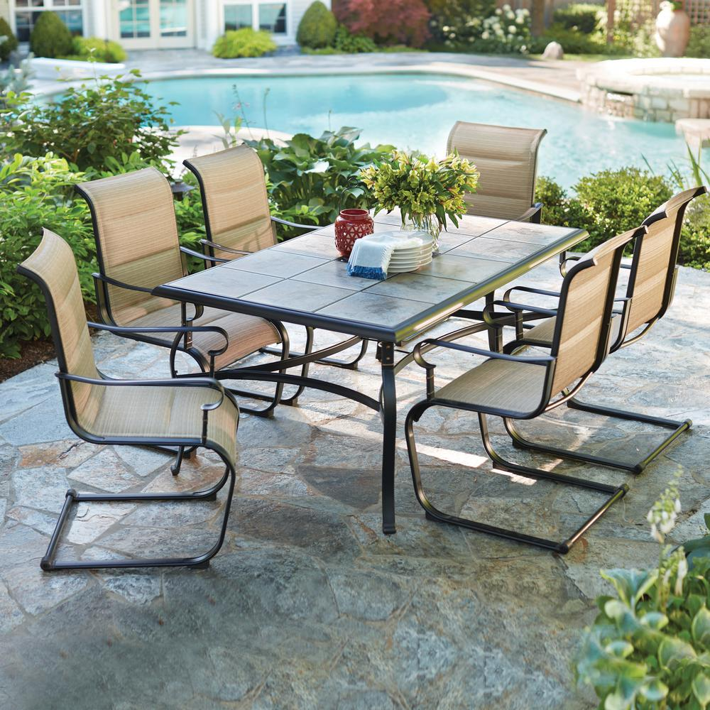 outdoor dining table hampton bay belleville 7-piece padded sling outdoor dining set KEYIEIA