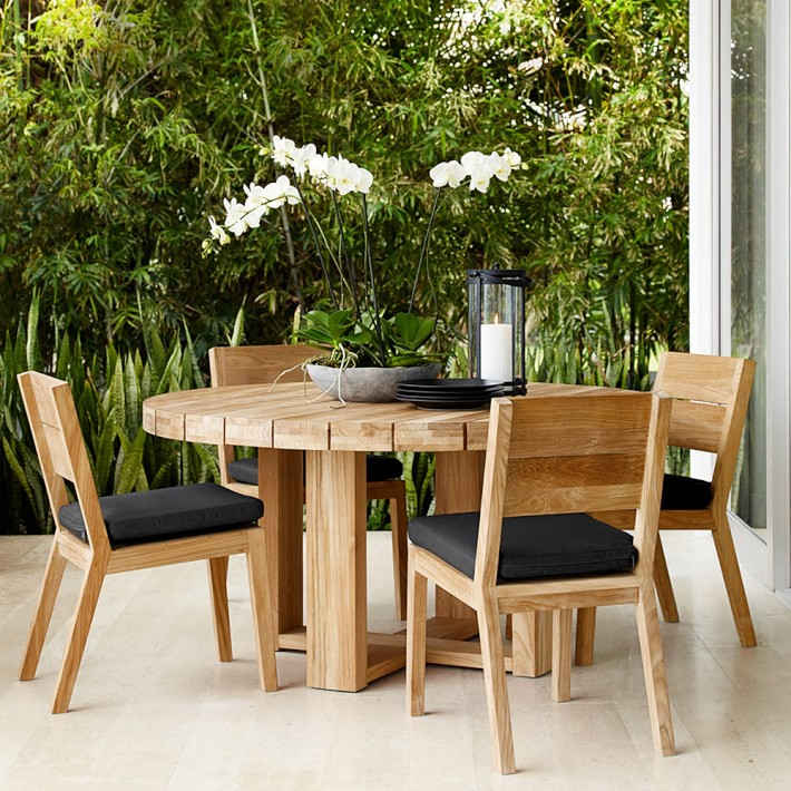 outdoor dining table larnaca outdoor round dining table | williams sonoma FVFRJJC
