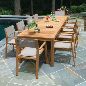 outdoor dining table summit 10ft infinity dining table, shown with summit stacking armchairs in WRSCRJL