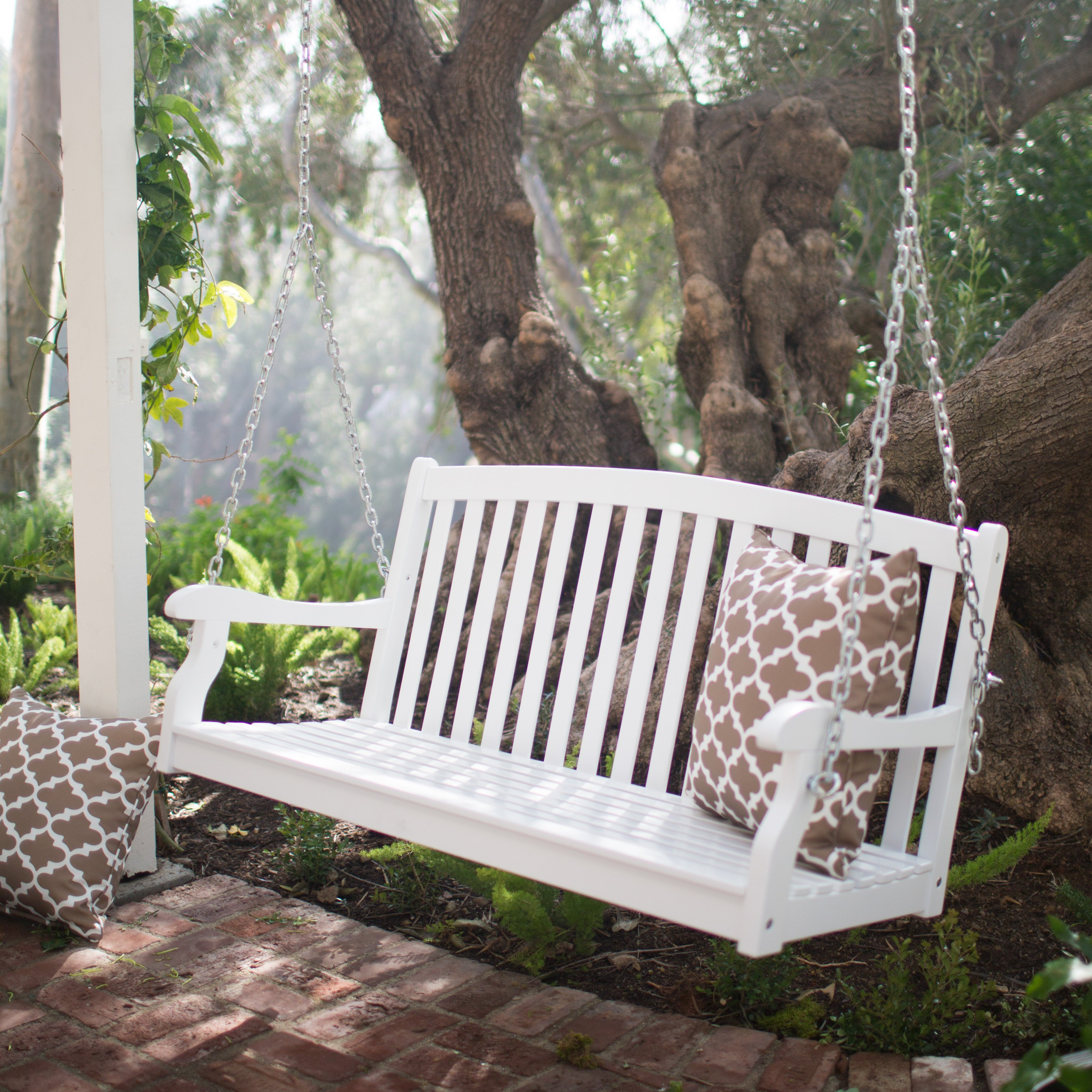 outdoor swings coral coast pleasant bay white curved back porch swing with optional ZYAUAPG